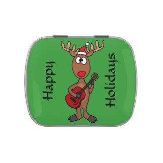 Funny Rudolph Reindeer Playing Guitar Candy Tin