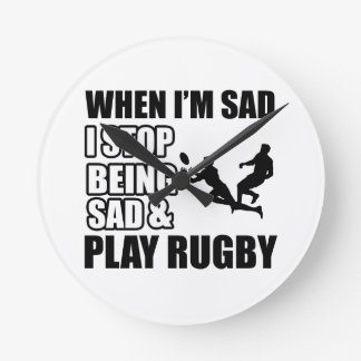 Funny rugby designs round clock