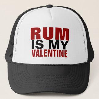 Hats - Funny Rum Is My Valentine | Anti Valentine's Day Trucker Hat, Pierogi & Kielbasa, Red & White Hat