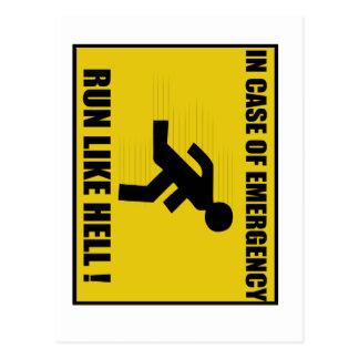 Funny Run Like Hell Postcard