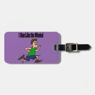 Funny Runner Dude Cartoon Bag Tag