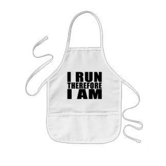 Funny Runners Quotes Jokes I Run Therefore I am Kids' Apron