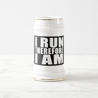 Funny Runners Quotes Jokes I Run Therefore I am Mug