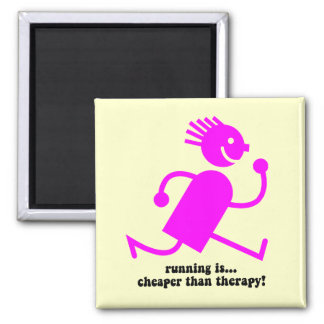 Funny running 2 inch square magnet