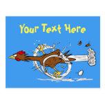 😎 Funny running chicken cartoon post card