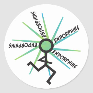Funny Running Endorphins Classic Round Sticker