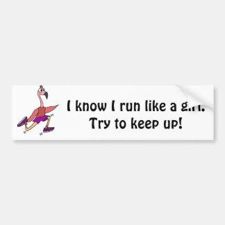Funny Running Flamingo Bumper Sticker