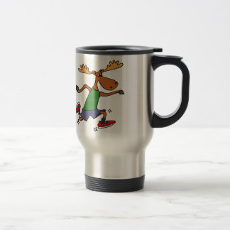 Funny Running Moose cartoon Travel Mug