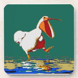 Funny Running Pelican Drink Coaster