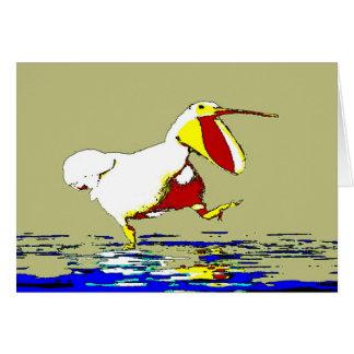 Funny Running Pelican Greeting Card