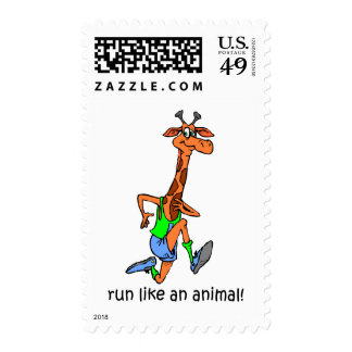 Funny running postage stamp