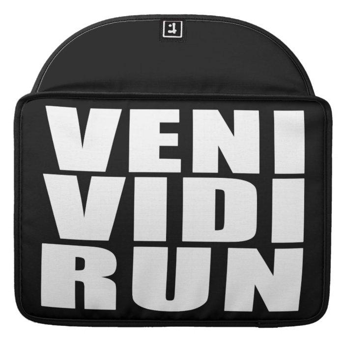 Funny Running Quotes Jokes Veni Vidi Run Sleeve For MacBooks