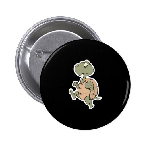 funny running turtle 2 inch round button