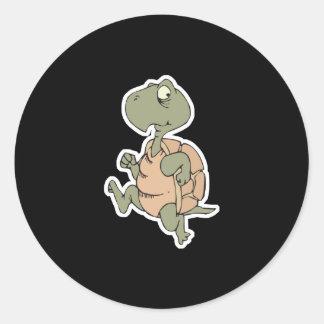 funny running turtle classic round sticker