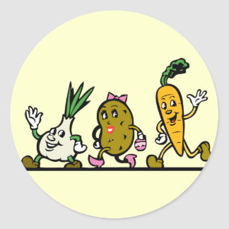 funny running vegetables classic round sticker