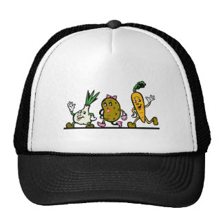 funny running vegetables mesh hats