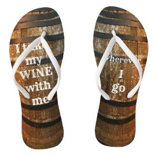 Funny Rustic Wine Barrel Flip Flops