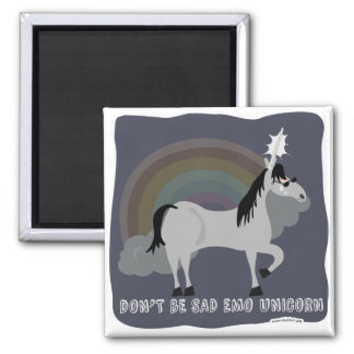 Funny Sad Emo Unicorn 2 Inch Square Magnet