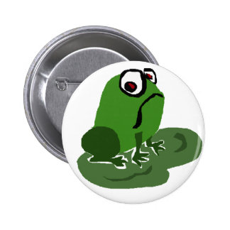 Funny Sad Frog Pinback Button