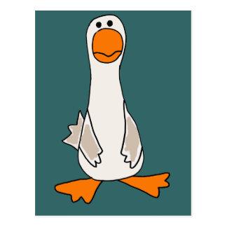 Funny Sad Goose Cartoon Postcard