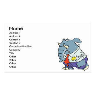 funny sad put on happy face elephant cartoon Double-Sided standard business cards (Pack of 100)