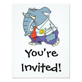funny sad put on happy face elephant cartoon 4.25x5.5 paper invitation card