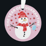 """Funny Sad Snowman Quarantine Christmas Ornament<br><div class=""""desc"""">What a year 2020 has been for everyone around the world! Spread a little christmas cheer that the year is nearly over with this fun cute coronavirus christmas tree ornament. Featuring the text """"THE YEAR OF QUARANTINE 2020"""", a sad cartoon snowman holding a face mask with the covid virus symbol...</div>"""