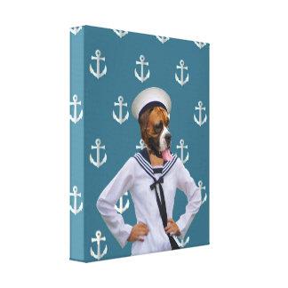 Funny sailor dog character canvas print