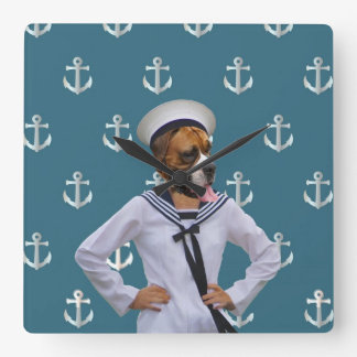 Funny sailor dog character clocks