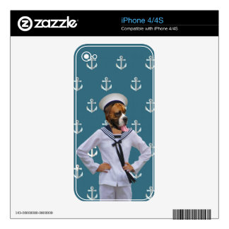 Funny sailor dog character decal for iPhone 4