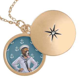 Funny sailor dog character locket necklace