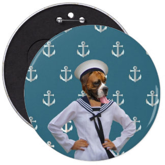 Funny sailor dog character pinback button