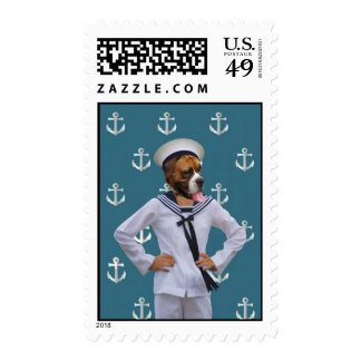 Funny sailor dog character postage stamps