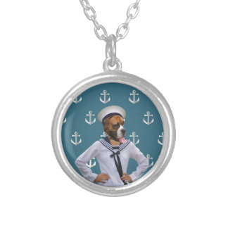 Funny sailor dog character silver plated necklace