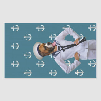 Funny sailor dog character rectangle sticker