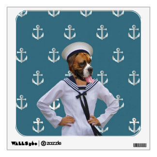 Funny sailor dog character wall sticker