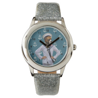 Funny sailor dog character watches