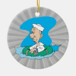funny sailor floating in raft christmas ornament