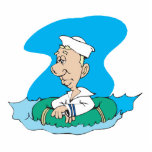 funny sailor floating in raft cut out