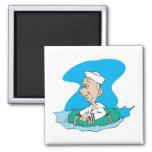 funny sailor floating in raft fridge magnets