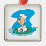 funny sailor floating in raft ornaments