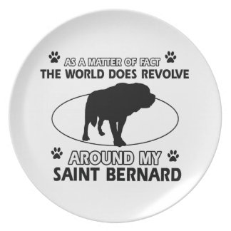funny SAINT BERNARD designs Dinner Plate