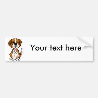 Funny Saint Bernard Puppy Dog Art Bumper Sticker