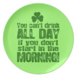 Funny Saint Patrick's Day Beer Party Plates