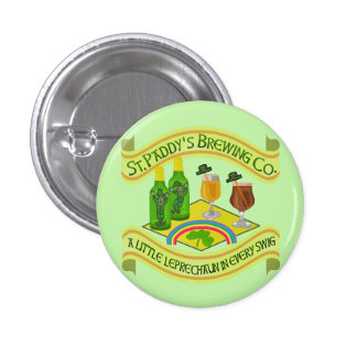 Funny Saint Patrick's Day Leprechaun Brewery Pinback Button