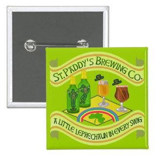 Funny Saint Patrick's Day Leprechaun Brewery Button