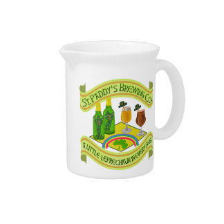 Funny Saint Patrick's Day Leprechaun Brewery Drink Pitcher