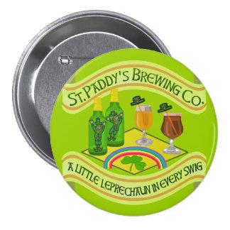 Funny Saint Patrick's Day Leprechaun Brewery Large Pinback Button