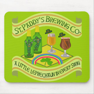 Funny Saint Patrick's Day Leprechaun Brewery Mouse Pad