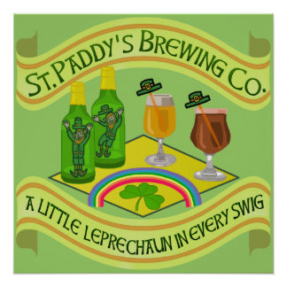 Funny Saint Patrick's Day Leprechaun Brewery Poster